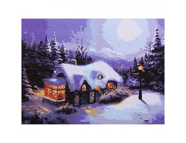 Дом зимней ночью 50х40см