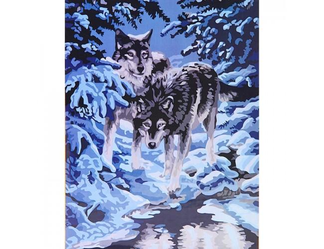 Волки в зимнем лесу 50х40см