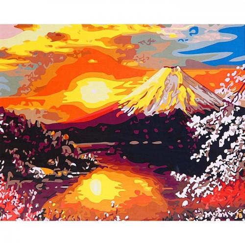 Восход над вулканом 50х40см